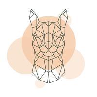 Geometrischer Kopf von Alpaka. Wildes Tier.