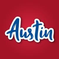 Austin - handritad bokstäver frasen. Klistermärke med bokstäver i pappersskuren stil.