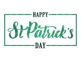 Hälsningsbanner med handskriven elegant borsta bokstäver komposition av Happy St. Patrick's Day