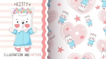 Söt teddy kitty - sömlöst mönster.