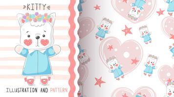 Süße Teddy-Miezekatze - nahtloses Muster.