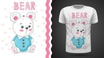 Teddy gullig björn - idé för utskriftst-shirt