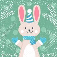 Kaninchen Zeichen Nette Winterabbildung. vektor