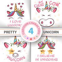 Einhorn, Schwein, Kuh, Stier - Babyillustration. Idee für Print-T-Shirt.