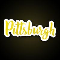 Pittsburgh - Hand gezeichnet, Phrase beschriftend. Aufkleber mit Schriftzug im Papierschnittstil.