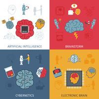 artificiell intelligens platt uppsättning vektor