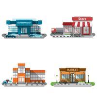 Shop Gebäude Icons Set vektor