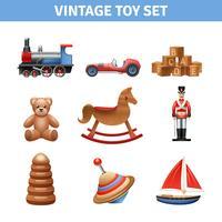 vintage leksak ikoner uppsättning