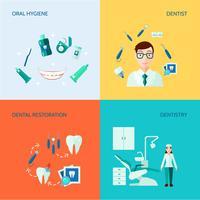 Dental dekorativa ikonuppsättning vektor