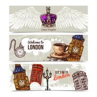 London Horisontella Banderoller vektor
