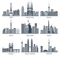 Urban Skylines Icons Set vektor