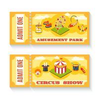 Två vintagens nöjesparksbiljetter