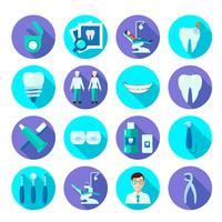 dental platt ikonuppsättning vektor