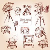 Retro Geräte-Skizze
