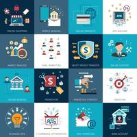 Banking marknadsföring koncept platt ikoner uppsättning vektor