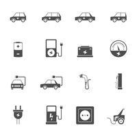 Elektrisk bil svart ikonuppsättning