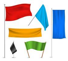 Färgade flaggor banners ikoner komposition