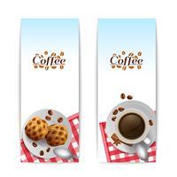 Kaffe med kakor frukost banners uppsättning vektor