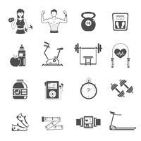 gym ikon svart uppsättning
