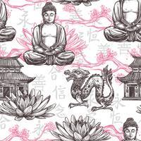Asiatiskt sömlöst mönster vektor