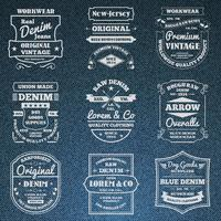 Denim jeans typografi logo emblems set vektor