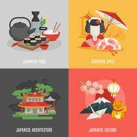Japansk kultur platt ikonuppsättning