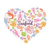 Liebe Meeresfrüchte Konzept