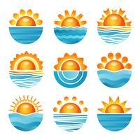 Solnedgång ikoner uppsättning