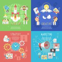 Unternehmensgründung Konzept 4 flache Banner vektor