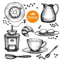 Handdragen kaffeset vektor