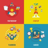 Business startup 4 platta ikoner kvadrat vektor