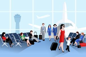 Människor På Flygplats Sammansättning vektor