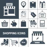 Shopping svart vit ikoner uppsättning