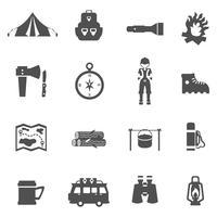Camping Icons schwarz