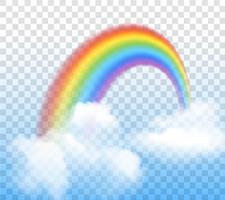 Regnbåge med moln genomskinlig vektor