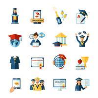 Skolan examen platt ikoner uppsättning vektor