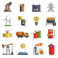 Flache Ikonen der Energieenergie eingestellt