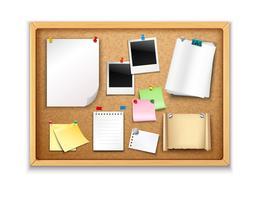 Cork Board med papper vektor