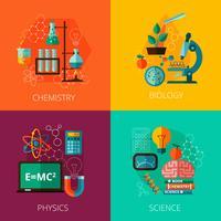 Vetenskapskoncept 4 platta ikonkomposition ikoner