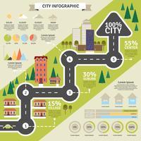 Stadskonstruktion och statistisk platt Infographic vektor