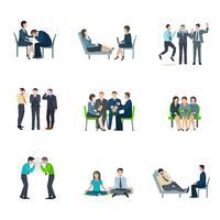 Psykiska hälsa platt ikoner uppsättning vektor