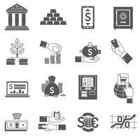 bank ikon svart uppsättning