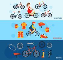 Cykeltillbehör platt bannersats vektor