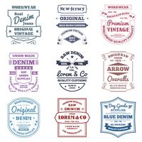 Denim-Typografie-Embleme vektor