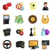 Casino spel spel platta ikoner uppsättning vektor