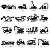 Byggmaskiner Svarta vita ikoner Set