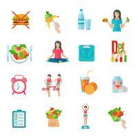 Flache Ikonen der flachen Diät des Gewichts eingestellt