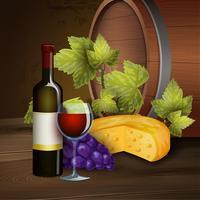 Vinflaska och ekfat bakgrund