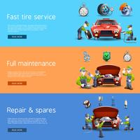 Auto mekaniker service platt banners set