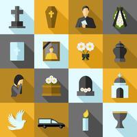 Begravnings ikoner platt uppsättning vektor